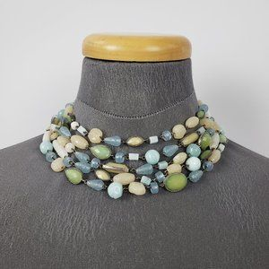 Blue & Yellow Beaded Necklace